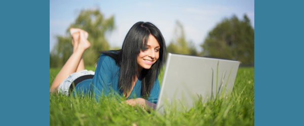 Young woman using a laptop computer