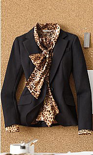 Nina Suit Jacket & Bow Blouse - City Leopard