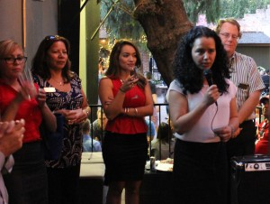 Claudia Mercado and the NSHMBA San Jose Chapter board members addressing the crowd.