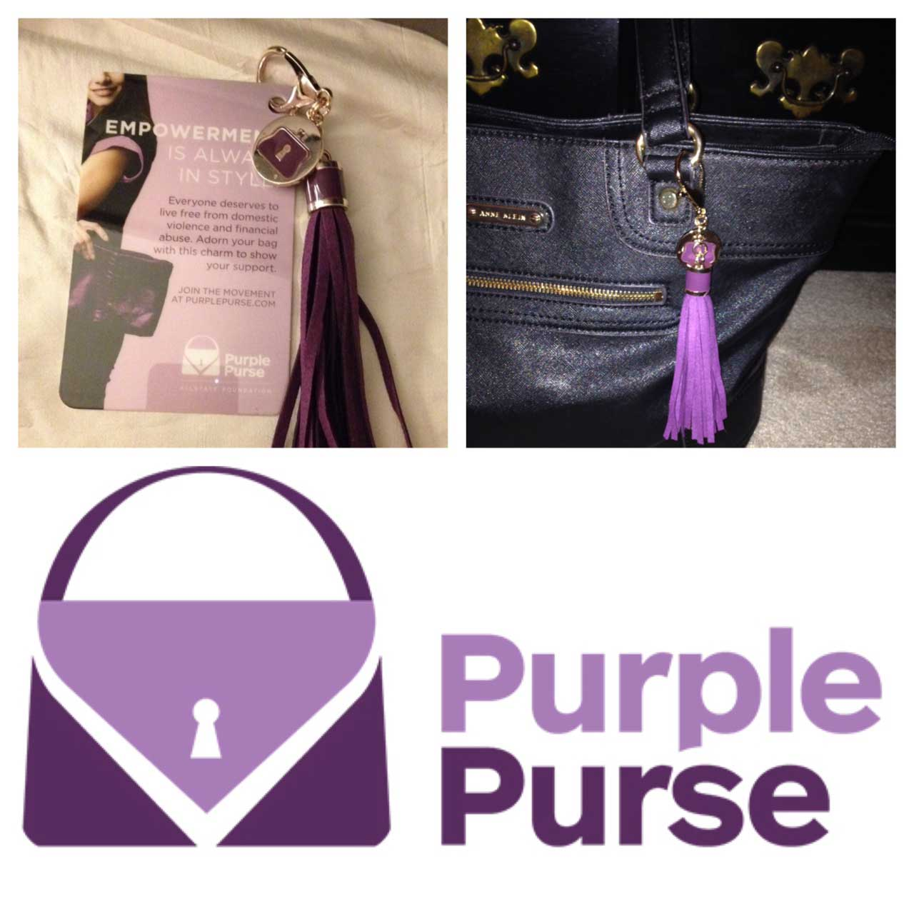 The Allstate Foundation provided 80,000 purse tassels to attach to your favorite purse as a continual sign of support. Each tassel is attached to a removable card featuring one of five inspiring survivor stories.