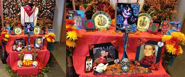 Altar created by Rose Mendoza from Ay Dios Mio to honor her sisters, Patricia and Maria. Alter is currently on display at the 17th Annual Día de los Muertos 2014: The Art of Remembrance Altar Exhibit on display at the Dr. Martin Luther King Jr. library in downtown San Jose from now until Friday, November 7, 2014.