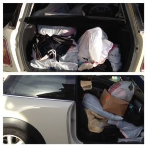 Car packed and ready to go drop off all the donations.