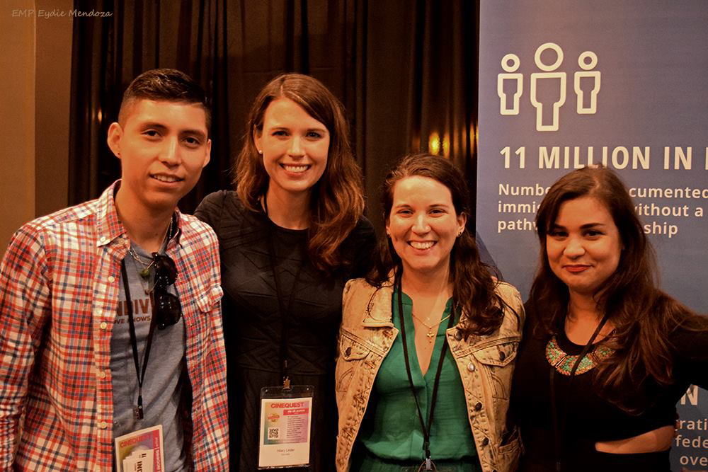 Antonio Alarcón, Director/Cinematographer/Producer, Hilary Linder,  Evelyn Rivera Portillo, and Renata Borges Teodoro from Indivisible. Photo by Eydie Mendoza.