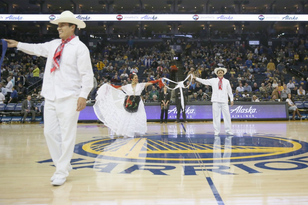Performing at the Warriors Game. Photo credit: PC: Christina Olivas.