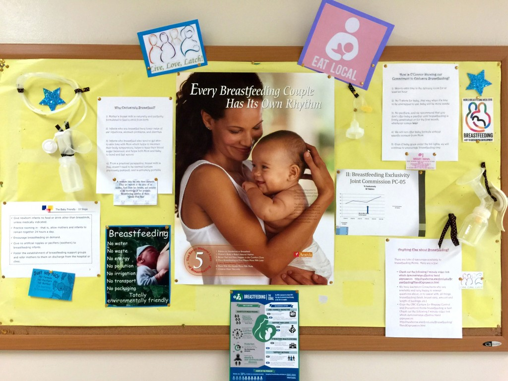 A bulletin board with information, resources, and tips for mothers (and babies) whom are exclusively breastfeeding.